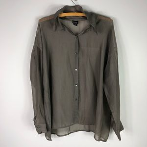 Eileen Fisher Brown Sheer Button Up Loose Fit Top